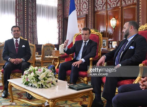 French President Emmanuel Macron meets with Moroccan King Mohammed VI his son Prince Moulay Hassan and his brother Prince Moulay Rachid at the Royal...