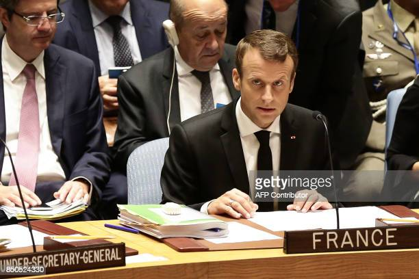 French President Emmanuel Macron participates in an open debate of the United Nations Security Council in New York on September 20 2017 / AFP PHOTO /...