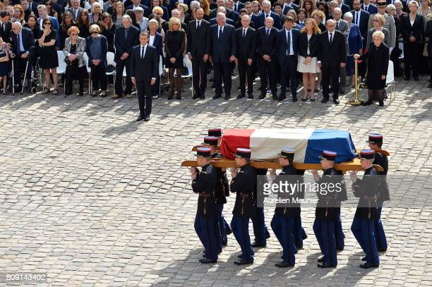 French President Emmanuel Macron pays his tribute to Simone Veil during her funeral at Hotel Des Invalides on July 5 2017 in Paris France Simone Veil...