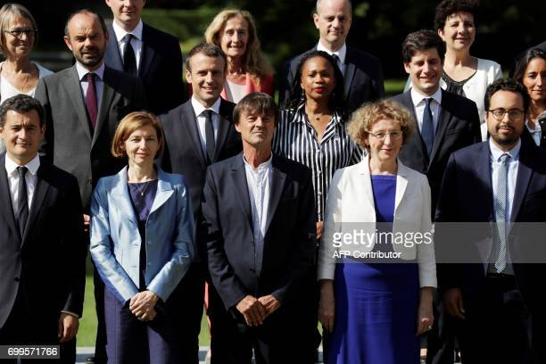 French president Emmanuel Macron poses with members of the governement Minister of Culture Francoise Nyssen Prime Minister Edouard Philippe Justice...