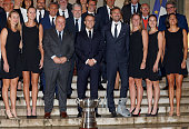 FRA: France's President Emmanuel Macron Welcomes France Tennis Players At Elysee Palace