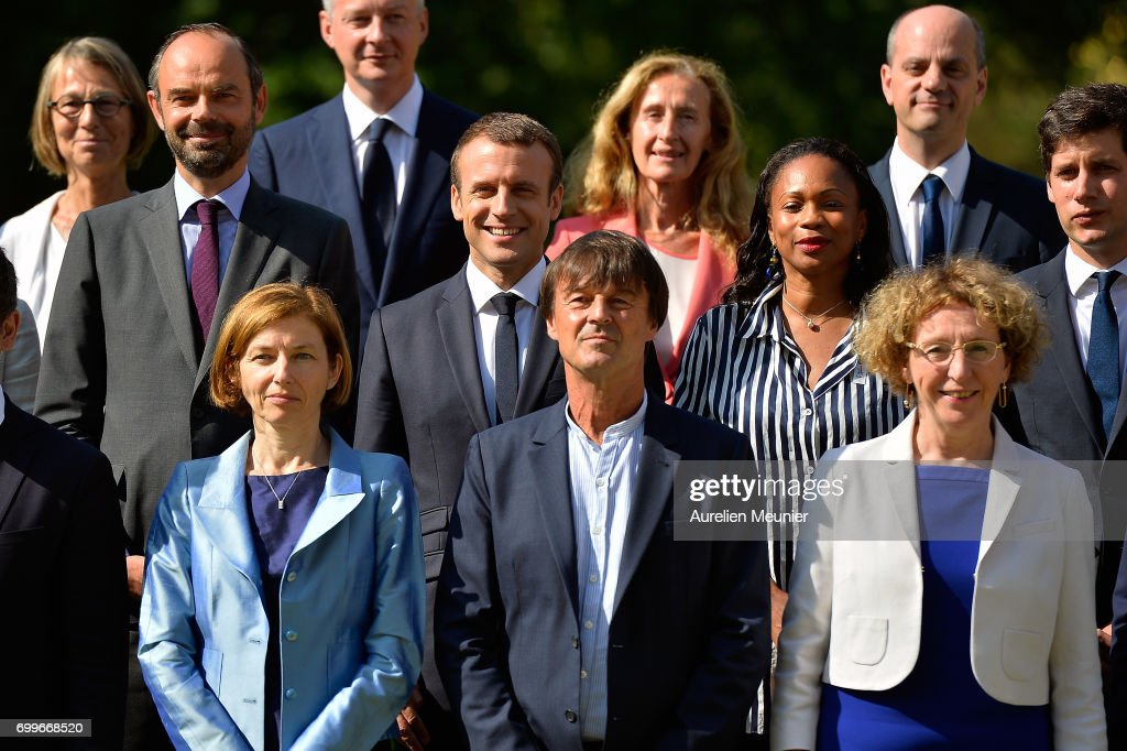 French president Emmanuel Macron poses with the members of his governement Prime Minister Edouard Philippe (L), Minister of Sport Laura Flessel (R), Defence Minister Florence Parly (1st row L), Minister of Ecological and Inclusive Transition Nicolas Hulot (1st rowC) at the Elysee Palace in Paris on June 22, 2017 in Paris, France.