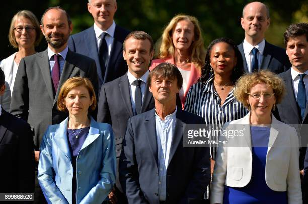 French president Emmanuel Macron poses with the members of his governement Prime Minister Edouard Philippe Minister of Sport Laura Flessel Defence...