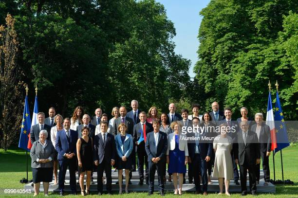 French president Emmanuel Macron poses with the Paris Olympics sign Paris 2014 with the members of the government at the Elysee Palace in Paris...