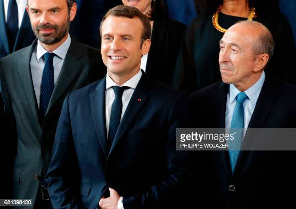 French President Emmanuel Macron Prime Minister Edouard Philippe and Interior Minister Gerard Collomb pose during a family photo at the Elysee Palace...