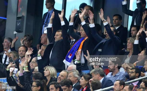 French President Emmanuel Macron Prime Minister of Netherlands Mark Rutte French Prime Minister Edouard Philippe doing the ola during the FIFA 2018...