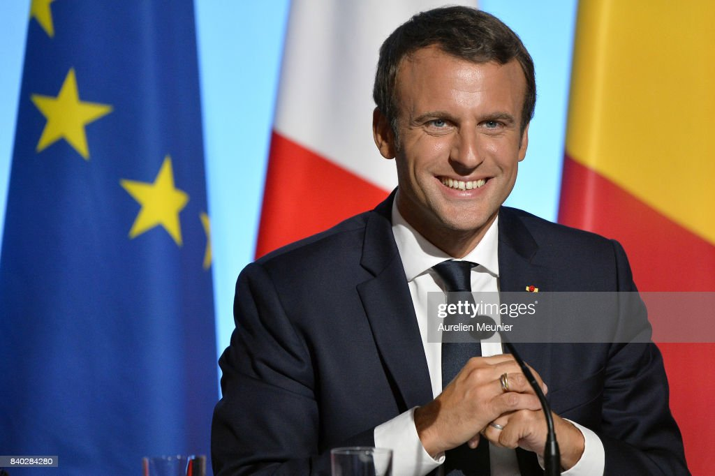 French President Emmanuel Macron reacts during a press conference after the multinational meeting at Elysee Palace on August 28, 2017 in Paris, France. During the meeting they talked about the politic situation in Europe and the European security issues.