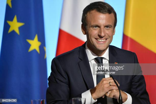 French President Emmanuel Macron reacts during a press conference after the multinational meeting at Elysee Palace on August 28 2017 in Paris France...