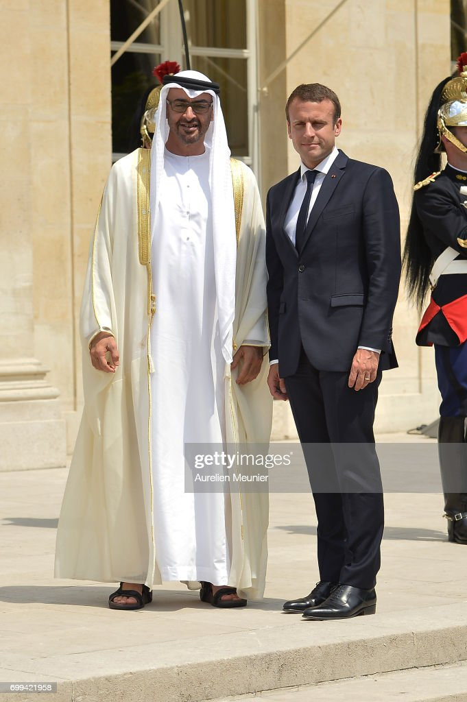 French President Emmanuel Macron receives Abu Dhabi's Crown Prince Sheikh Mohammed Bin Zayed Al Nahyan at Elysee Palace on June 21, 2017 in Paris, France. They discussed bilateral relations and the latest regional and international developments.