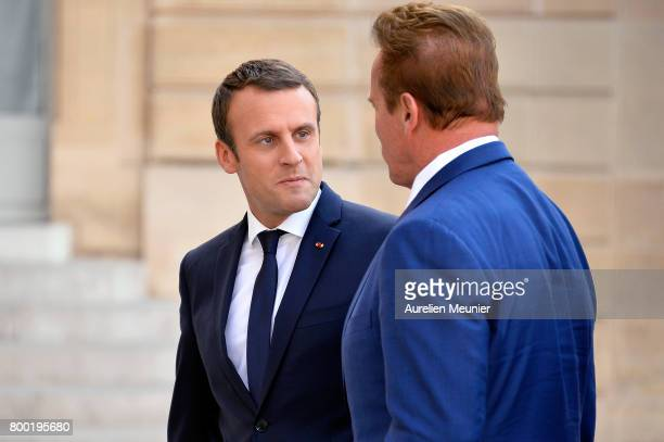 French President Emmanuel Macron receives Arnold Schwarzenegger at the Elysee Palace on June 23 2017 in Paris France On their agenda was the United...