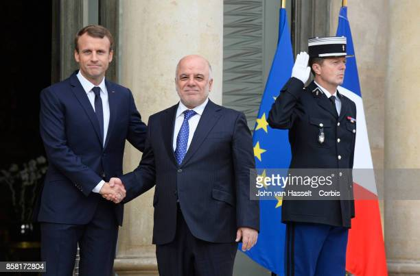 French President Emmanuel Macron receives Prime Minister of Iraq Haider alAbadi at the Elysee Palace on October 05 2017 in Paris