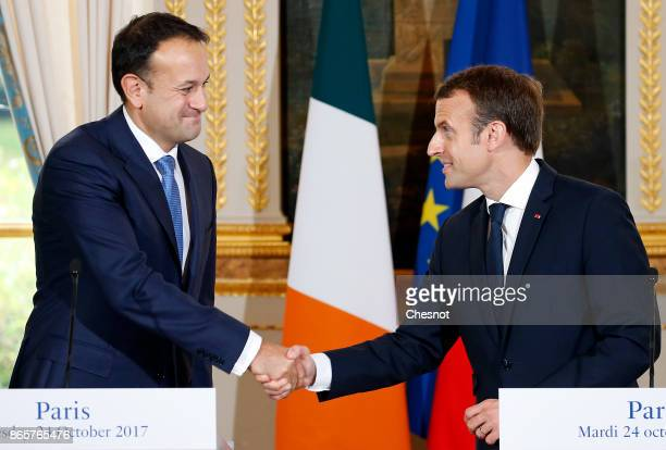 French President Emmanuel Macron shakes hand with Prime Minister of Ireland Leo Varadkar after a joint press conference at the Elysee Presidential...