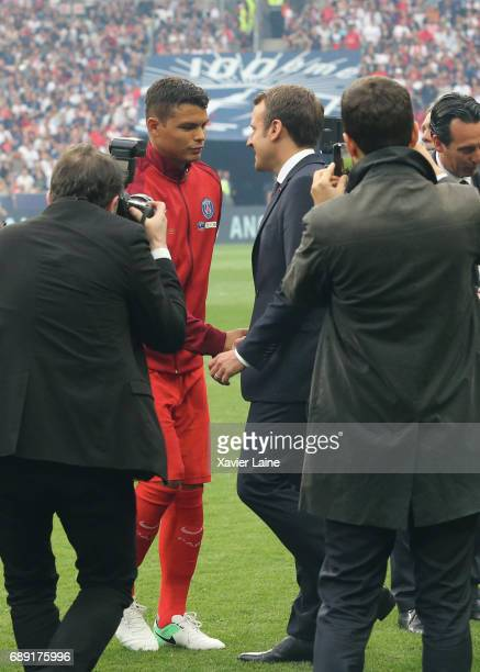French president Emmanuel Macron speak with captain Thiago Silva of PSG before the French Cup Final match between Paris SaintGermain and SCO Angers...