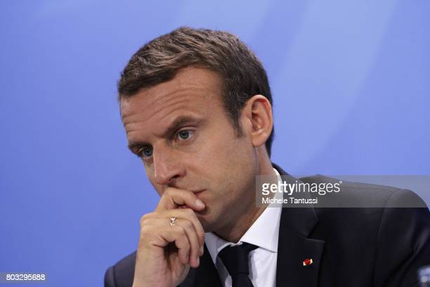 French President Emmanuel Macron speaks a Press conference after a meeting of European Union leaders at the Chancellery on June 29 2017 in Berlin...