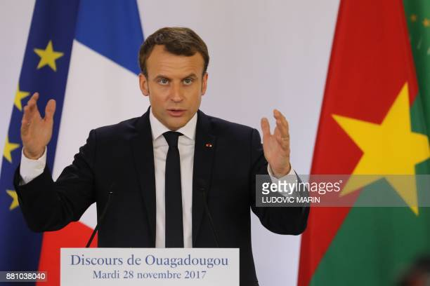 French President Emmanuel Macron speaks at the Ouagadougou University in Ouagadougou on November 28 as part of his first African tour since taking...