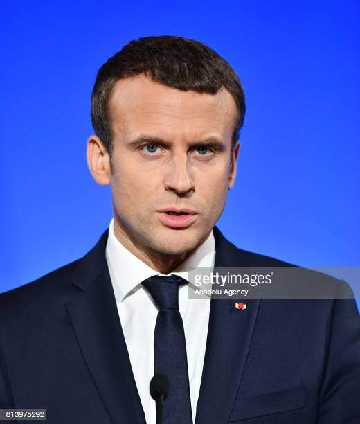 French President Emmanuel Macron speaks during a joint press conference held with US President Donald Trump after their meeting at the Elysee Palace...