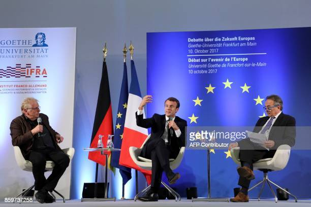 French President Emmanuel Macron speaks next to European MP Daniel CohnBendit and Professor at the Paris Institute of Political Studies Gilles Kepel...