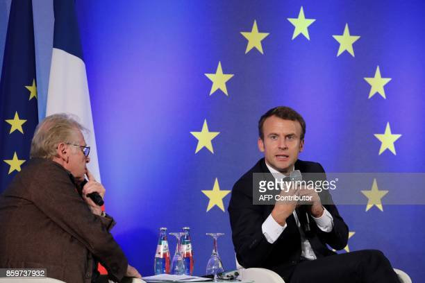 French President Emmanuel Macron speaks next to European MP Daniel CohnBendit during an open debate on Europe on October 10 2017 at the Goethe...
