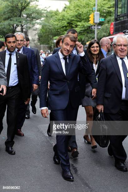 French President Emmanuel Macron takes a walk to the United Nations Headquarters on September 19 2017 in New York City