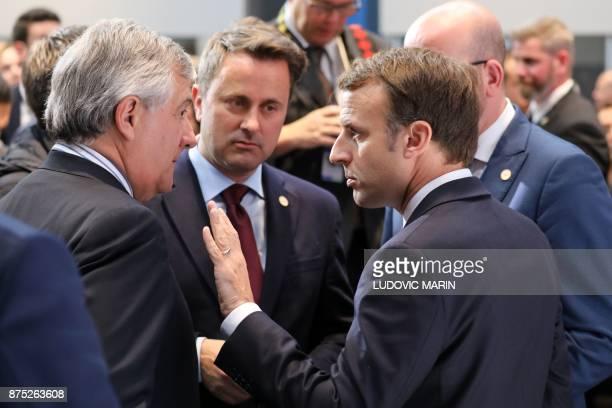 French President Emmanuel Macron talks to President of the European Parliament Italian Antonio Tajani and Luxembourg's Prime Minister Xavier Bettel...