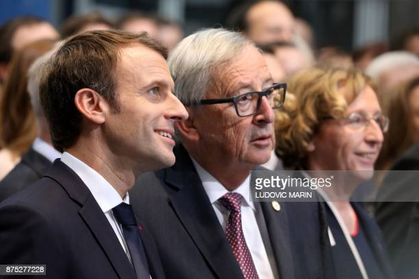 French President Emmanuel Macron talks with President of the European Commission JeanClaude Juncker during the European Social Summit in Gothenburg...