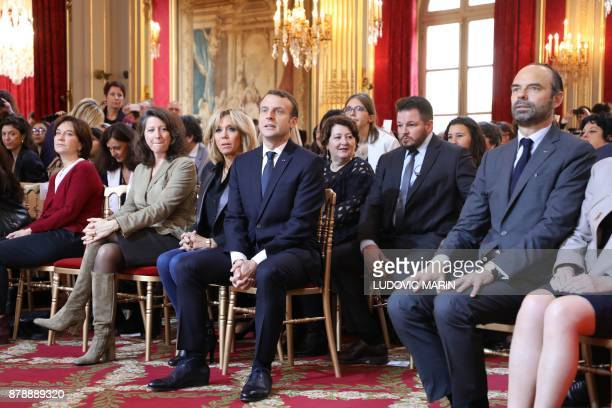 French President Emmanuel Macron together with his wife Brigitte Macron French Minister for Solidarity and Health Agnes Buzyn French senator Laurence...