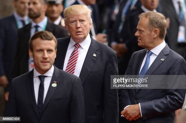 French President Emmanuel Macron US President Donald Trump and President of the European Council Donald Tusk arrive at the Hotel San Domenico during...