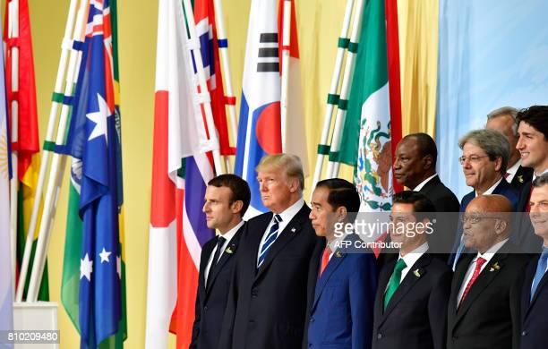 French President Emmanuel Macron US President Donald Trump Indonesia's President Joko Widodo Mexico's President Enrique Pena Nieto South Africa's...