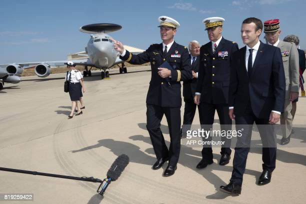 French President Emmanuel Macron visits the BA 125 French Air Force base in Istres on July 20 2017 France's top military chief resigned on July 19...