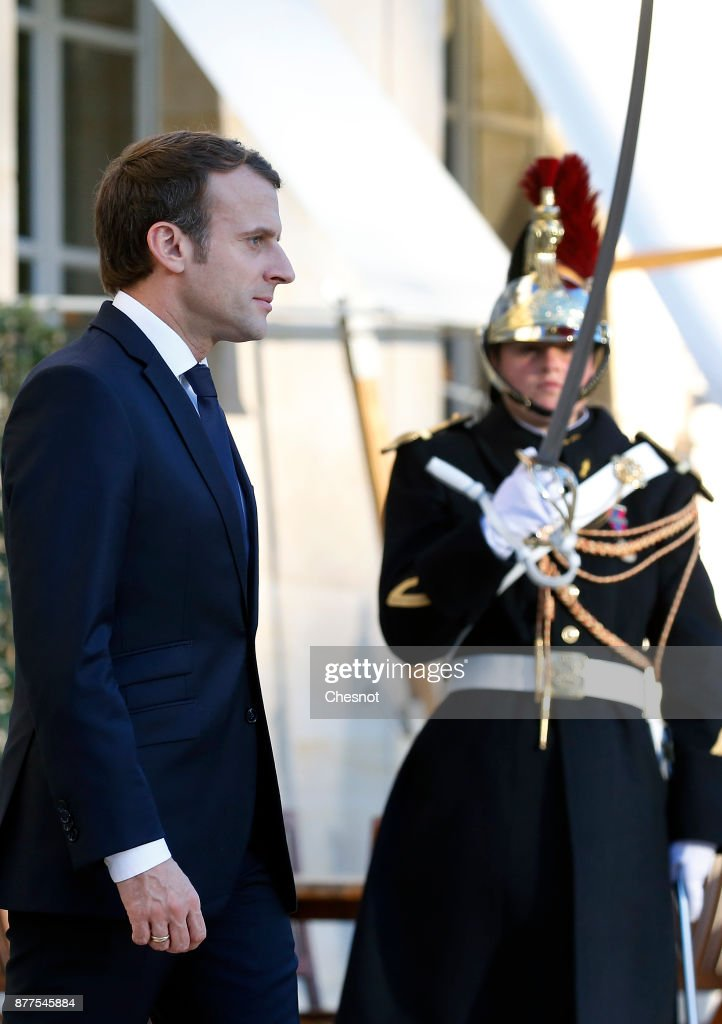 French President Emmanuel Macron Receives Alpha Conde, Guinea's president Alpha Conde At Elysee Palace In Paris
