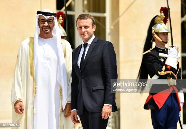 French President Emmanuel Macron welcomes Crown Prince Mohammed Bin Zayed Al Nahyan of the United Arab Emirates at the Elysee Palace in Paris France...