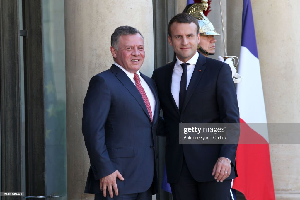 French President Emmanuel Macron welcomes King Abdullah II of Jordan prior to a meeting at the Elysee Presidential Palace on June 19 in Paris, France. Abdullah II of Jordan is on an official visit to France.