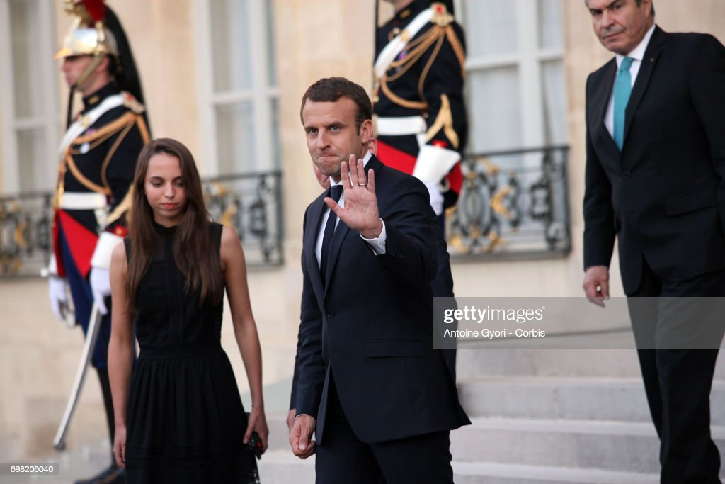 French President Emmanuel Macron welcomes King Abdullah II of Jordan and her Daughter prior to a meeting at the Elysee Presidential Palace on June 19 in Paris, France. Abdullah II of Jordan is on an official visit to France.