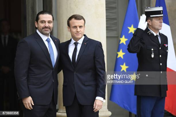 French President Emmanuel Macron welcomes Lebanese Prime Minister Saad Hariri at the Elysee Presidential Palace on November 18 2017 in Paris Hariri...