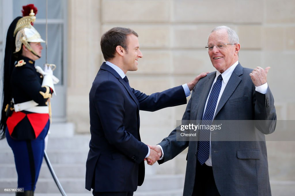 French President Emmanuel Macron Receives Pedro Pablo Kuczynski, president of Peru At Elysee Palace