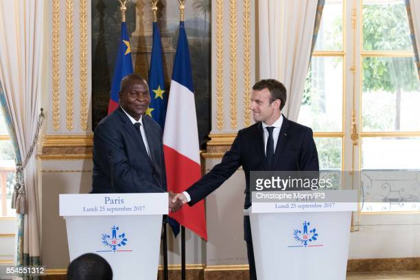 French President Emmanuel Macron welcomes President of the Central African Republic Faustin Archange Touadera at the Elysee Palace on September 25...