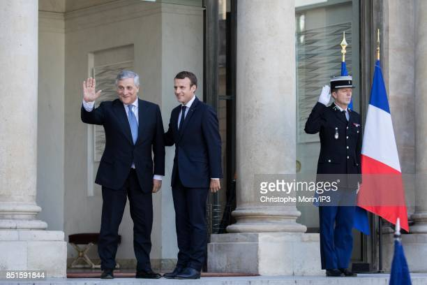 French President Emmanuel Macron welcomes President of the European Parliament Antonio Tajani at the Elysee Palace on September 22 2017 in Paris...