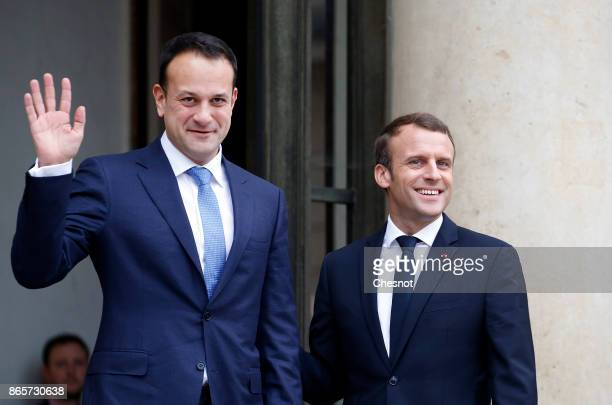 French President Emmanuel Macron welcomes Prime Minister of Ireland Leo Varadkar prior to a meeting at the Elysee Presidential Palace on October 24...