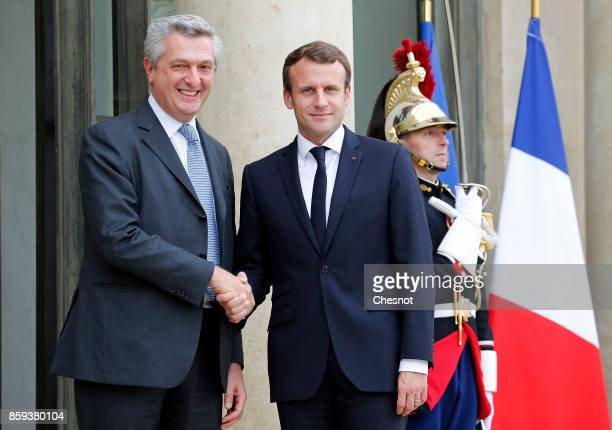 French President Emmanuel Macron welcomes the United Nations High Commissioner for Refugees Italian Filippo Grandi prior to their meeting at the...
