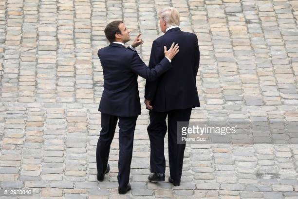 French President Emmanuel Macron welcomes US President Donald Trump at Les Invalides As part of the commemoration of the 100th anniversary of the...