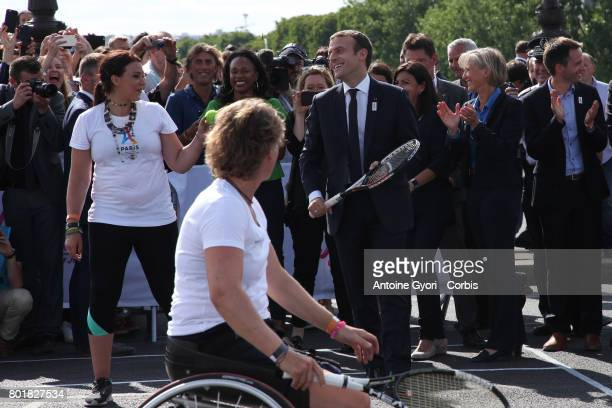 French president Emmnauel Macron and Marion Bartoli During the Olympic Day Paris Olympic Park comes to life For Olympic Day on June 24 2017 in Paris...