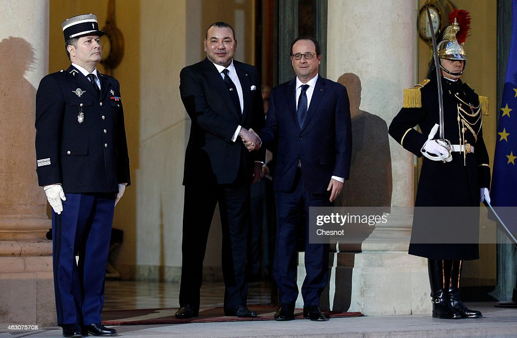 French President Francois Hollande Receives  King Mohammed VI of Morocco At Elysee Palace