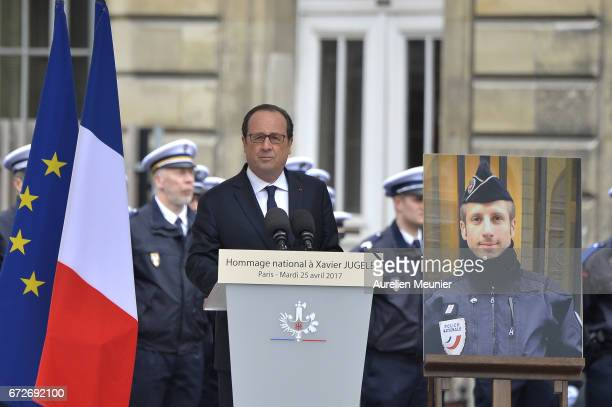 French President Francois Hollande addresses Police officers during the National tribute to fallen French Policeman Xavier Jugele on April 25 2017 in...