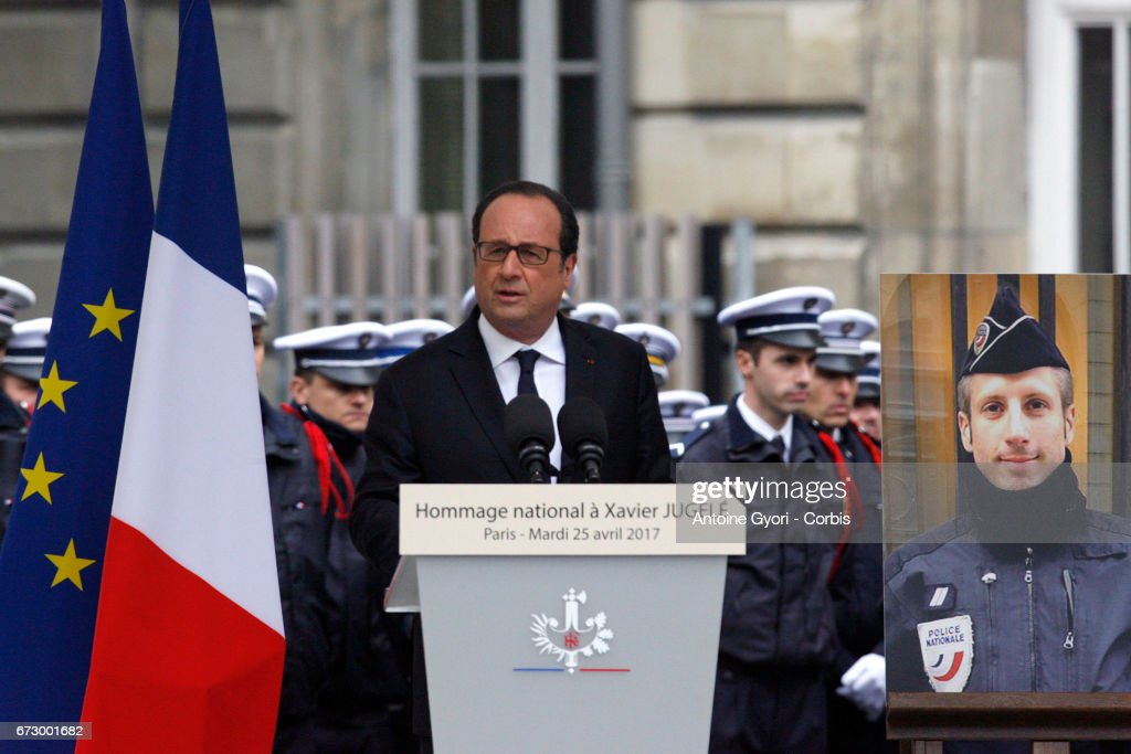 French President Francois Hollande addresses Police officers during the National tribute to fallen French Policeman Xavier Jugele on April 25, 2017 in Paris, France. French Police Officer Xavier Jugele, 37, was shot dead by a gunman on Thursday April 20, 2017 on Paris's Champs Elysees, a few days' prior to the French Presidential elections.