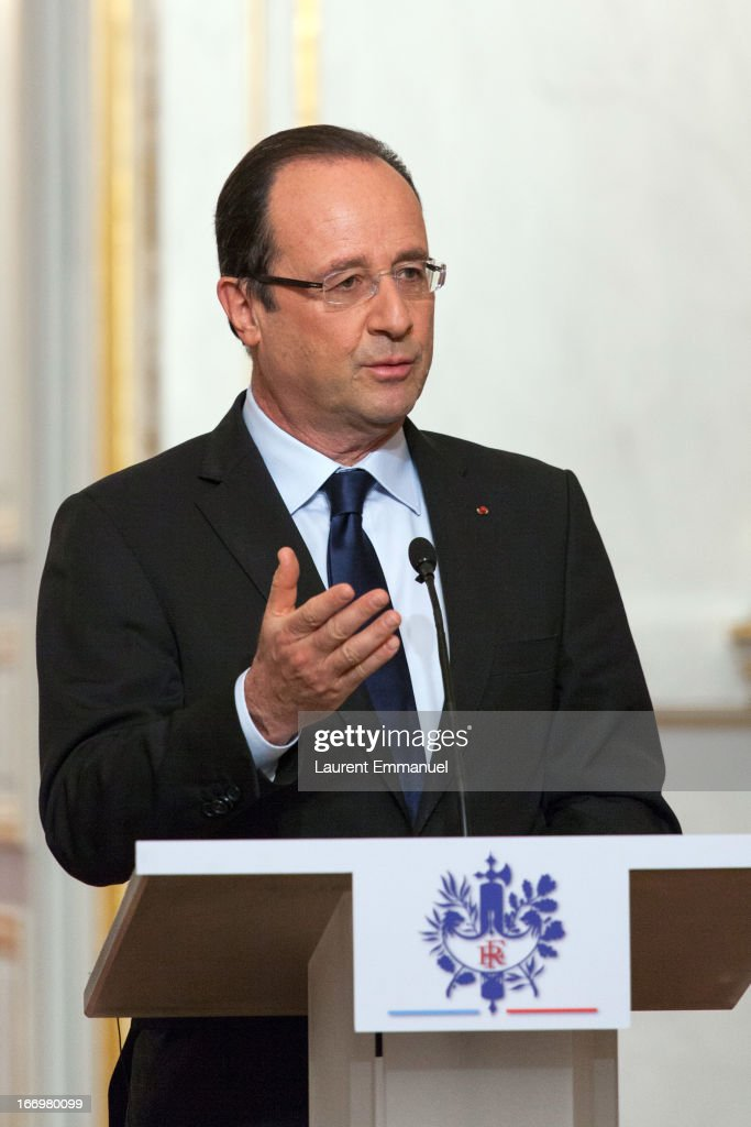 French President Francois Hollande addresses reporters during a joint press conference following his meeting with Ethiopian Prime Minister Hailemariam Desalegn at Elysee Palace on April 19, 2013 in Paris, France. Prime Minister Hailemariam Dessalegn is on his first official visit to Europe after becoming the new Prime Minister of Ethiopia, and aims to improve relationships between Ethiopia and the EU during his visit.
