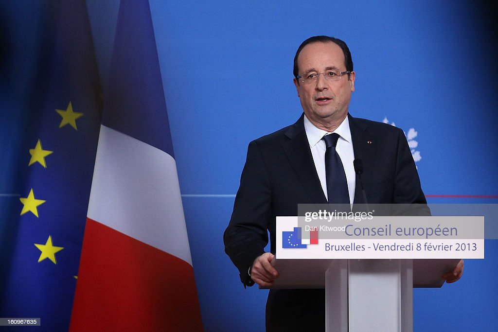 French President Francois Hollande addresses the media at the headquarters of the Council after reaching a deal on the budget for 2014-20 on February 8, 2013 in Brussels, Belgium. EU leaders have set out the framework for agreeing on a 2014-2020 EU budget, during talks that continued through the night at the European Council meetings in Brussels. The historic deal would see a 34.4 billion Euros cut to EU spending over the next 7 year period.