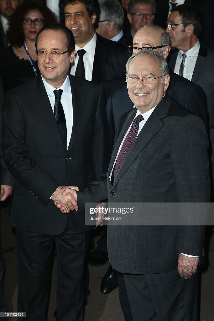 French President Francois Hollande and CRIF's President Richard Prasquier attend the 28th Dinner of 'Conseil Rrepresentatif Des Institutions Juives De France at Pavillon d'Armenonville on March 20, 2013 in Paris, France.