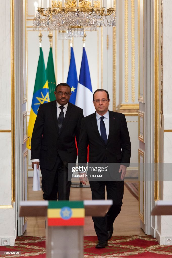French President Francois Hollande (R) and Ethiopian Prime Minister <a gi-track='captionPersonalityLinkClicked' href=/galleries/search?phrase=Hailemariam+Desalegn&family=editorial&specificpeople=7752700 ng-click='$event.stopPropagation()'>Hailemariam Desalegn</a> arrive for a press conference following their meeting at Elysee Palace on April 19, 2013 in Paris, France. Prime Minister <a gi-track='captionPersonalityLinkClicked' href=/galleries/search?phrase=Hailemariam+Desalegn&family=editorial&specificpeople=7752700 ng-click='$event.stopPropagation()'>Hailemariam Desalegn</a> is on his first official visit to Europe after becoming the new Prime Minister of Ethiopia, and aims to improve relationships between Ethiopia and the EU during his visit.