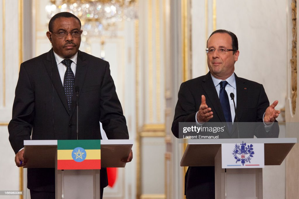 French President Francois Hollande (R) and Ethiopian Prime Minister <a gi-track='captionPersonalityLinkClicked' href=/galleries/search?phrase=Hailemariam+Desalegn&family=editorial&specificpeople=7752700 ng-click='$event.stopPropagation()'>Hailemariam Desalegn</a> address reporters during a press conference following their meeting at Elysee Palace on April 19, 2013 in Paris, France. Prime Minister Hailemariam Dessalegn is on his first official visit to Europe after becoming the new Prime Minister of Ethiopia, and aims to improve relationships between Ethiopia and the EU during his visit.