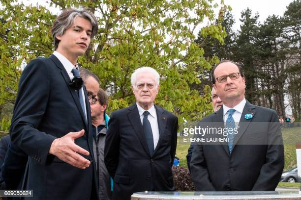 French President Francois Hollande and former French prime minister Lionel Jospin attend a ceremony at the top of the California Plateau overlooking...